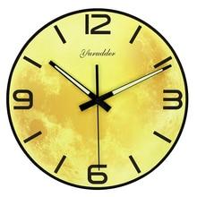 New Arrival The Moon Design Modern Fashion MDF Wall Clock LUMINOVA Wood Decorative DIY No Frame 28cm Wall clock