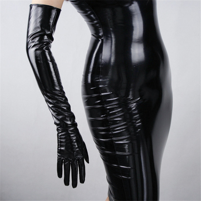 2020 New Patent Leather Extra Long Gloves 70cm Long Emulation Leather PU Bright Leather Bright Black Female Free Shipping WPU04 2