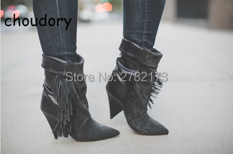 все цены на Hot Sale Fringed Gray Black Suede Spike Heels Fashion Lady Boots Pointed Toe High Heels Sexy Winter Autumn Woman Boots Shoes