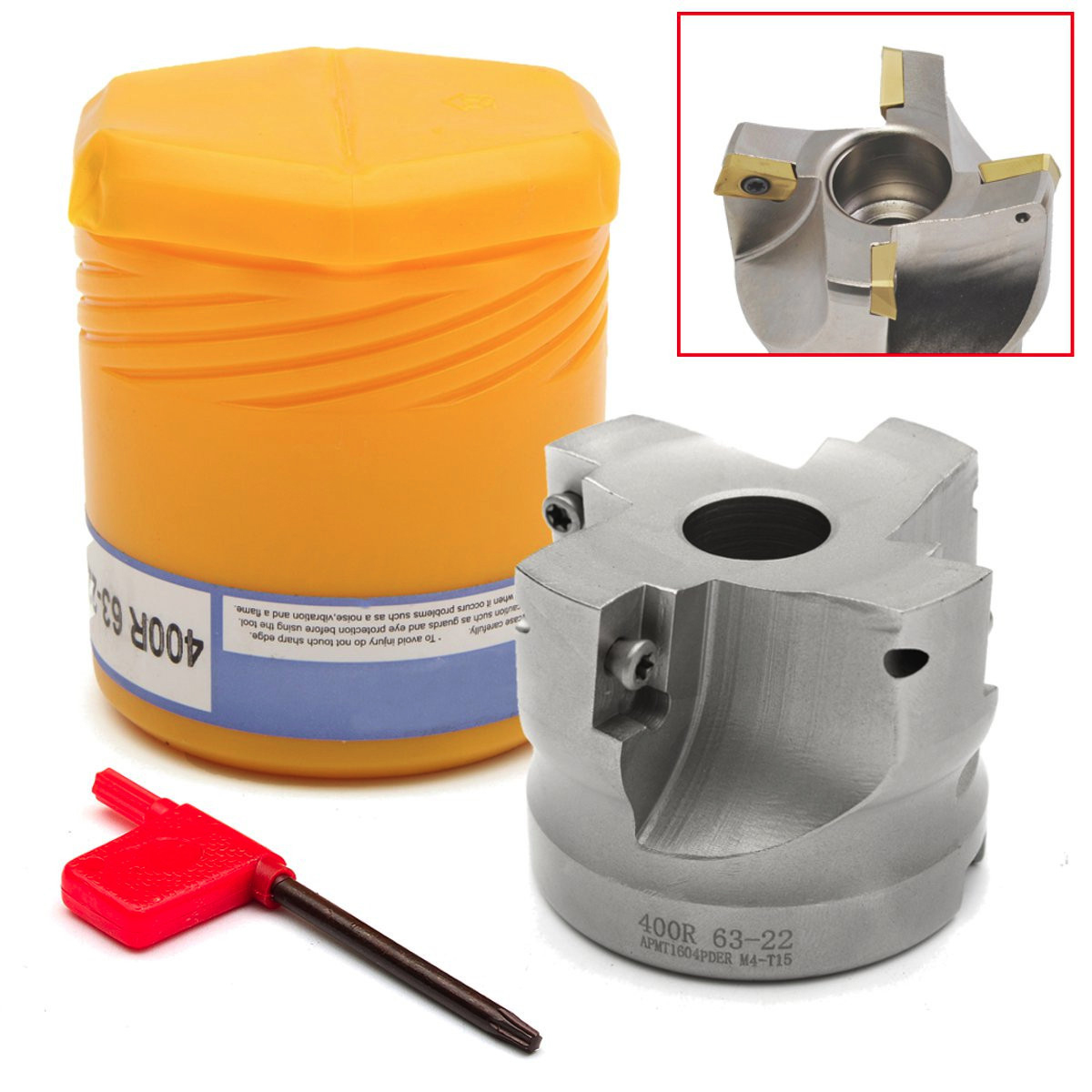1pc RAP 400R-63-22-4F Face Milling Cutter With T15 Wrench and Box Mayitr For APMT1604 Insert Lathe Tool precision m16 bt40 400r 63 22 face endmill and 10pcs apmt1604 carbide insert new