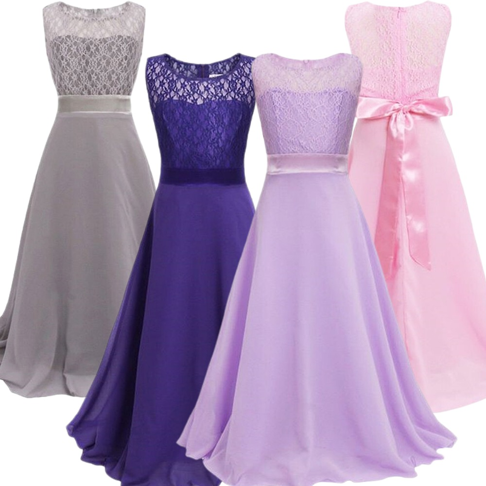 Anak Gadis Renda Lipit Pinggang Tinggi Kasual Long Gaun Formal Kontes  Bridesmaid Pesta Ulang Tahun Maxi Prom Gadis Gaun 5- 5 Tahun