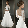 Weding Dress Three Quarter Sleeve Lace Appliqued Low Back A-Line Wedding Dress