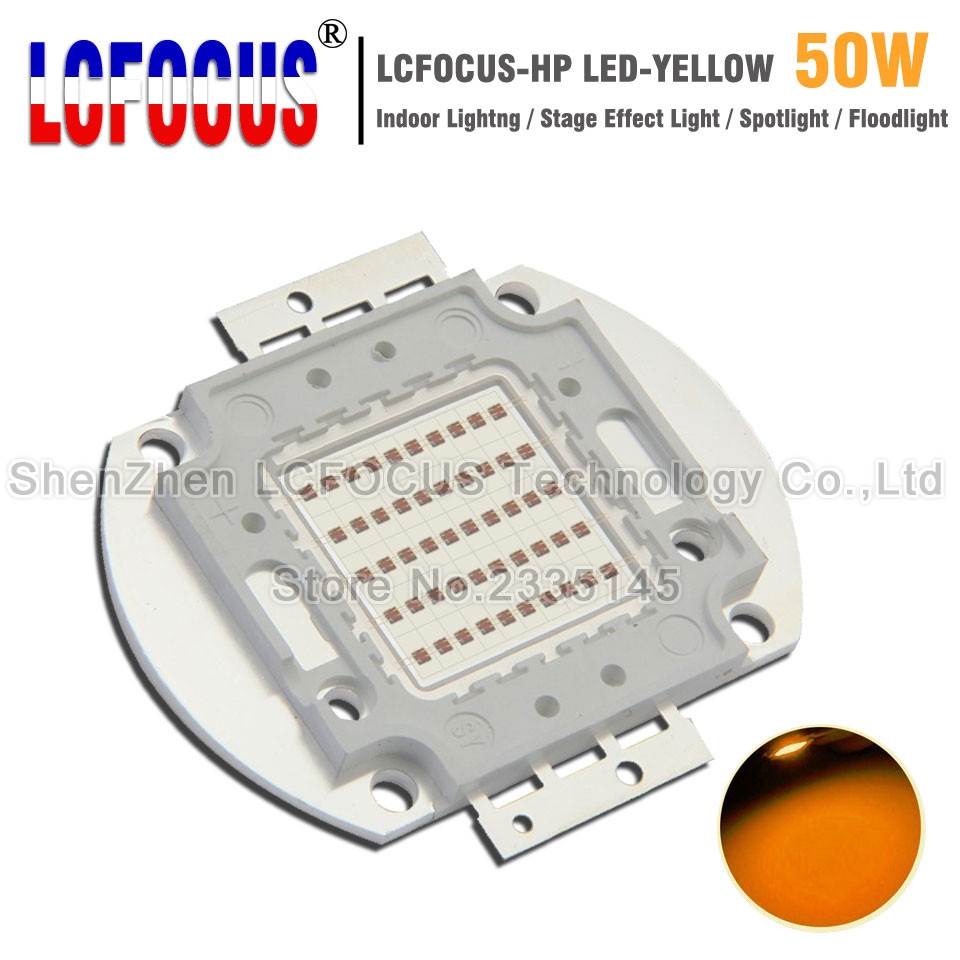 High Power LED Chip 50W Yellow 590-595nm Super Bright SMD COB Diode For 50 100 W Watt Light Beads Outdoor Wall Floodlight