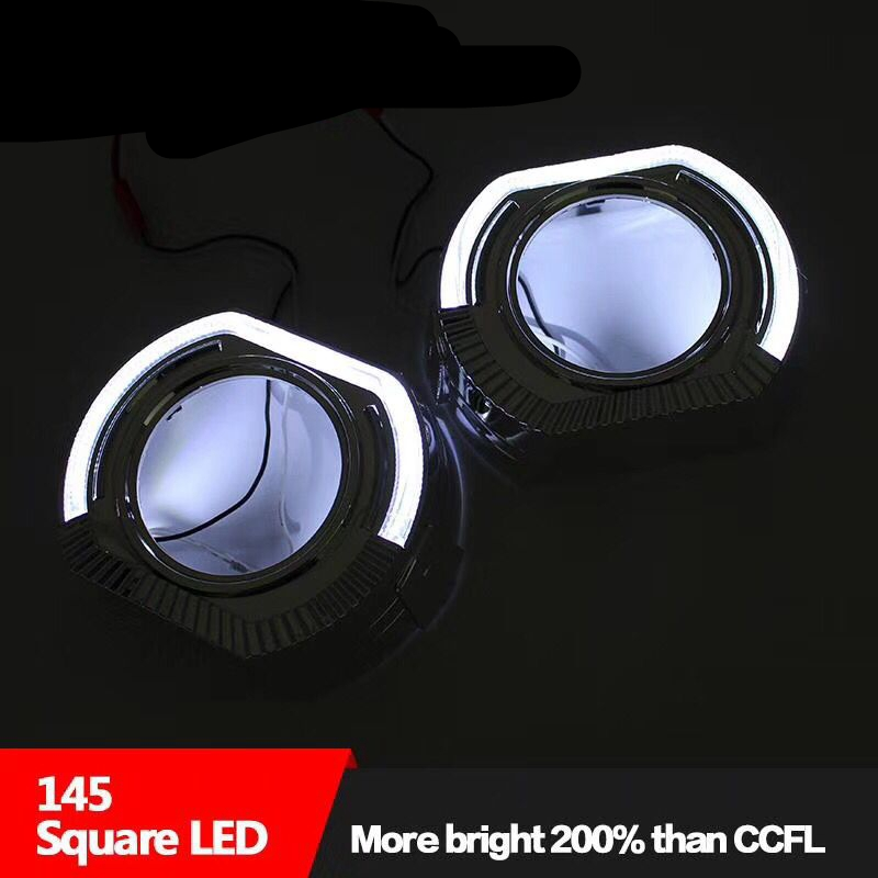 2pcs 3.0 inch DRL Shrouds Angel Eyes Led Day Running Angel Eyes White Car Bi Xenon Hid Xenon Kit Hid Projector Lens Headlight ...