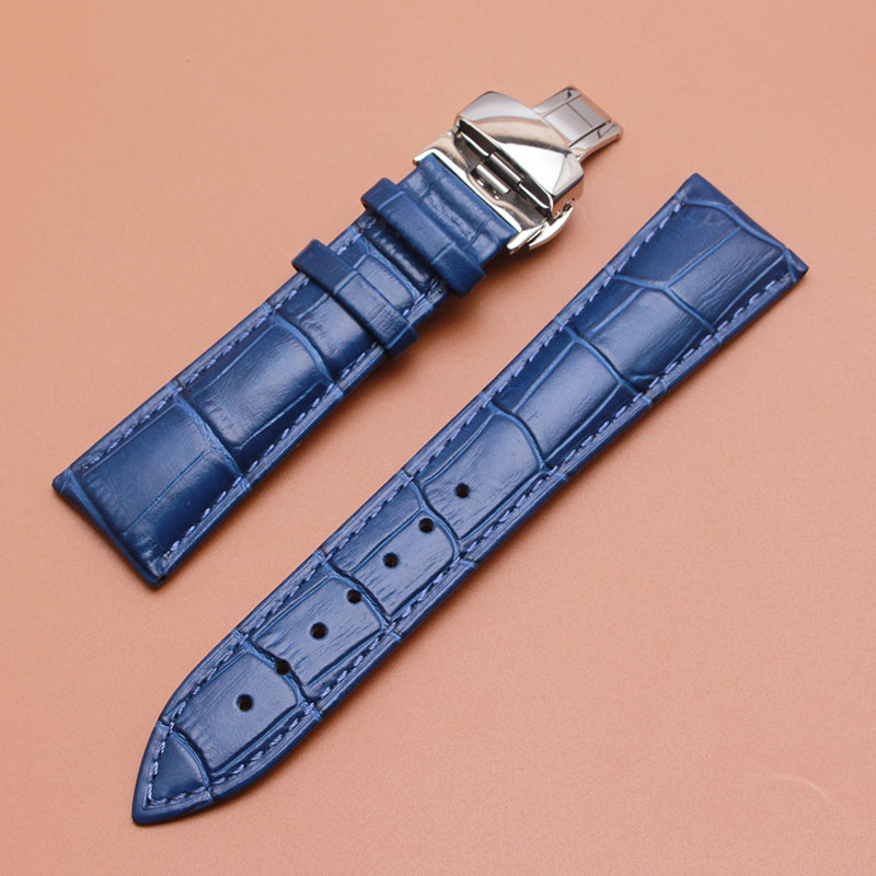 Watchband Quality Genuine Leather Watch band 14mm 16mm 18mm 20mm 22mm dark Blue watchbands strap silver clasp Watch Accessories