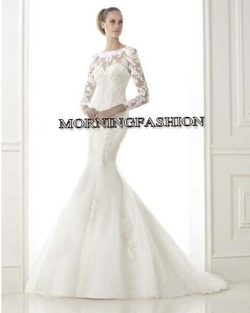 Latest Design Long Sleeved High Necked Lace Fishtail Bridal Dress