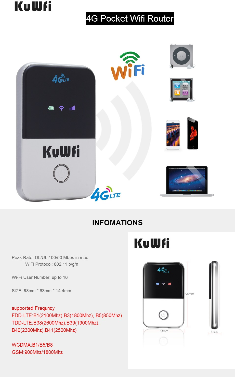 KuWfi 4G Wifi Router Mini 3G/4G LTE Wireless Router Portable Pocket Wi-fi  Mobile Hotspot Car Wi-fi With Sim Card Slot