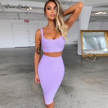 Deer Lady Bandage Party Dresses 2019 Crop Top And Purple 2 Piece Bandage Set Bodycon Sexy Celebrity Bandage Dress Mini Club