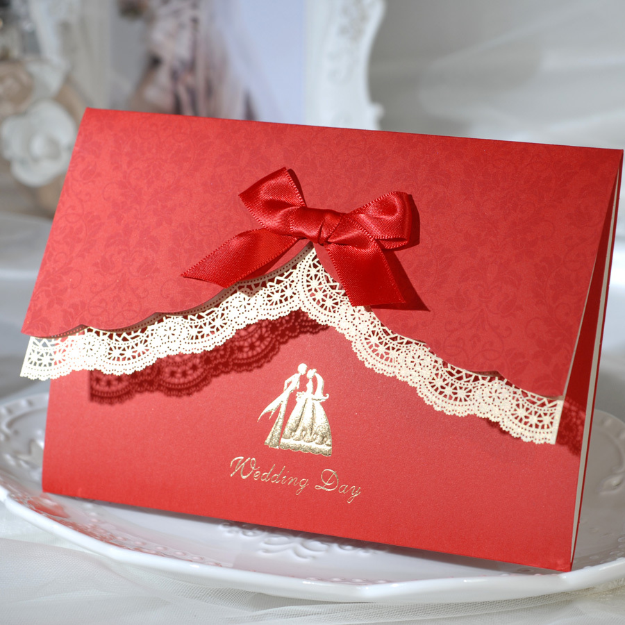 Gorgeous Red Wedding Invitations with bow,Lace invitation card with ...