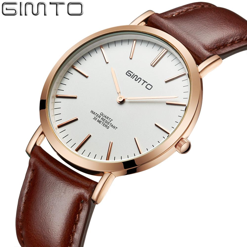 Prix pour GIMTO 2016 Mode Simple Montres Hommes En Cuir Montre Mâle Occasionnel Ultra Mince Étanche Bracelet À Quartz Hommes Horloge reloj hombre