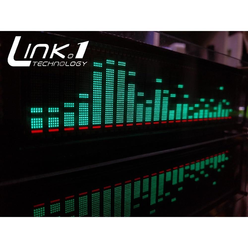 LINK1 VFD Music Audio Spectrum Indicator Audio VU Meter Amplifier Board Level Precision Clock Adjustable AGC