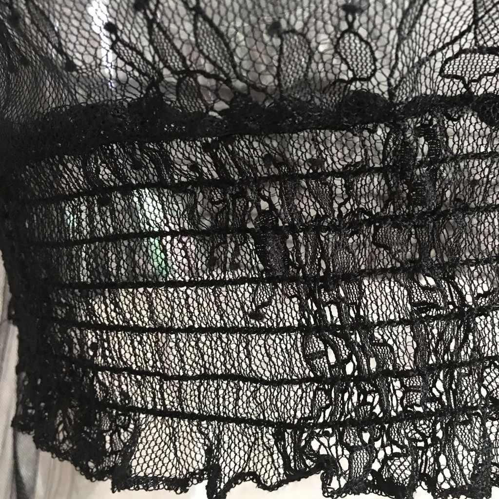 Модная женская черная рубашка ажурный прозрачный топ сексуальный кроп Топ пупка Сетка кружево с высоким воротником рубашка с длинным рукавом o-образным вырезом топы