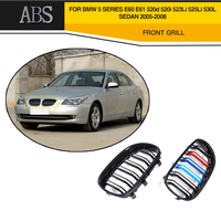 1 Pair ABS Car Front Grille Grille Matt Black With Double Line For BMW E60 Grille