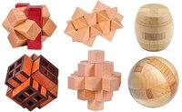 Set of 6PCS Classic 3D Wooden Burr Puzzle IQ Wood Brainteaser Puzzles Game for Adults Children