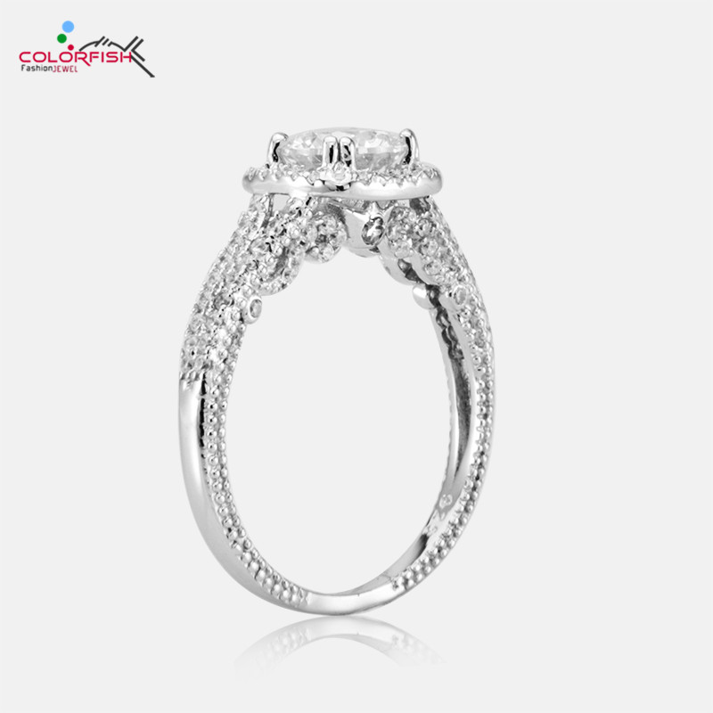 COLORFISH Solid 925 Sterling Silver Square Halo Engagement Rings Round Cut 1.25ct Cubic Zirconia Jewelry For Women Promise Ring