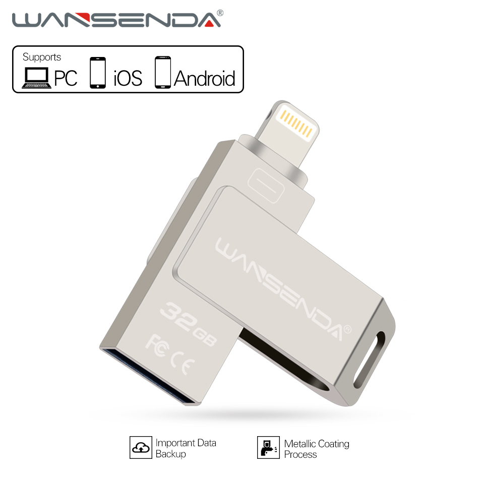 Wansenda 3 in 1 usb flash drive for PC iPhoneX 8 7 6 5 Android phones