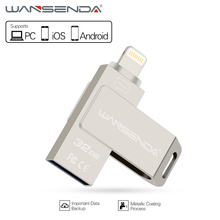 Wansenda 3 in 1 usb flash drive for PC/ iPhone6/7/iPad/Android phones Pendrive 16gb 32gb usb memory stick usb 2.0 OTG pen drive