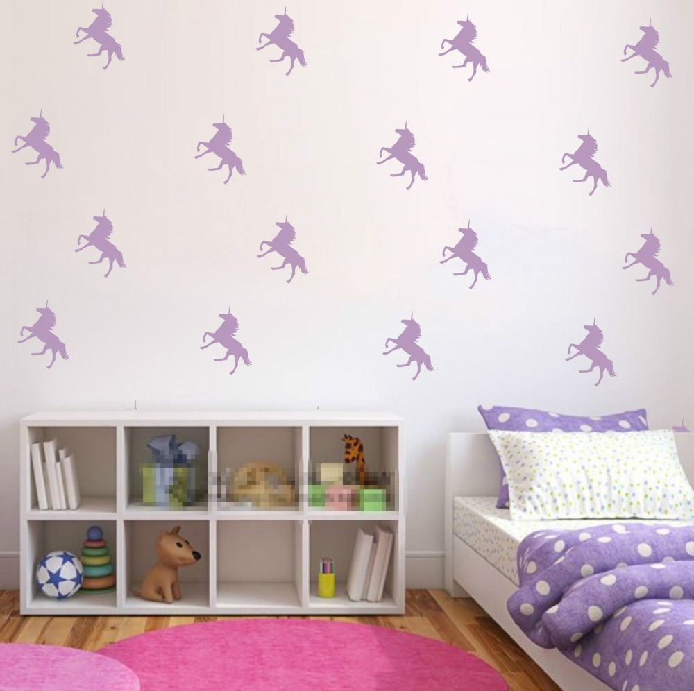 Buy 32pcs lot custom color diy unicorn for Children room mural