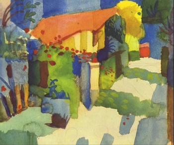 High quality Oil painting Canvas Reproductions House in the garden (1914)  By August Macke hand painted