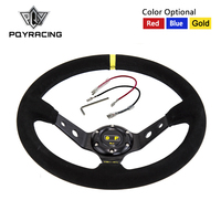 14inch 350mm OMP Deep Corn Drifting Steering Wheel Suede Leather Steering Wheels 3 Colors PQY SW21