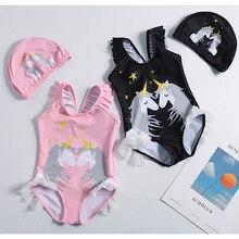 New 2019 Girls swimwear 1~10Years Girls swimsuit one piece Unicorn Girls swimwear with Hat Children Beachwear Bathing suit-ST120