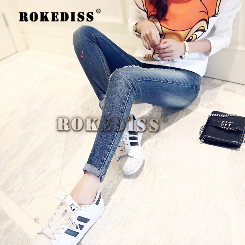 2017 Autumn And Winter The New Cotton Women Dark Was thin Hole jeans Female fashion personality Feet trousers woman Tights F033 2017 autumn winter fashion was thin