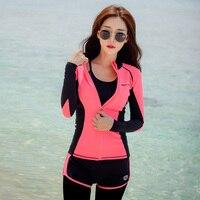 Rhyme Lady Long Sleeve Rash Guard Swimwear female four Pieces beach Swimsuit Sun Protection Rashguard Swimming Suit For Women