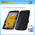 Lcd display touch screen digitizer + Bezel frame + Tools For Motorola for MOTO G2 XT1063 XT1068 XT1069 Black Free shipping