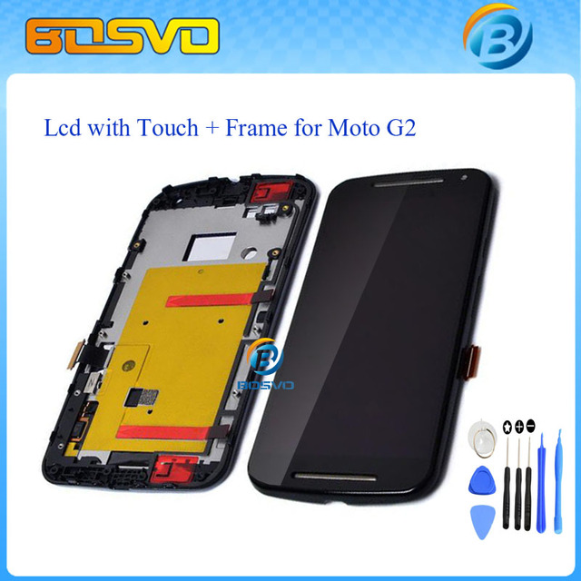 Lcd display touch screen digitizer + Bezel frame + Tools For Motorola for MOTO G2 XT1063 XT1068 XT1069 Black Free shipping