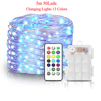 LED Fairy Lights Battery Powered with Remote Control Waterproof Decorative Bedroom Patio Indoor Party 5m 50LEDs Multi Color Chan