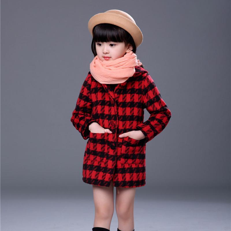 Realistisch Mädchen Mantel Neue Herbst/winter England Mantel Stil Baby-kleidung Plaid Wolle Mäntel Für Mädchen Kleidung Kinder Oberbekleidung