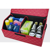 E FOUR Extra Large Trunk Storage in Car stowing Tidying Rear Case Leather Collapsible Cargo Heavy Duty Home Out Door Automobile