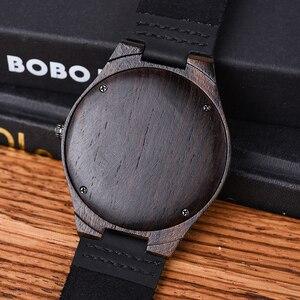 Image 5 - בובו ציפור קלאסי עגול שחור אבוני עץ שעונים עבור גברים עור קוורץ שעון במכירות להתמודד
