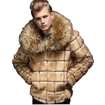2017 New Mens Winter Faux Fur Jacket Style Windbreaker Thick Warm Fashion Man Leahter Coat