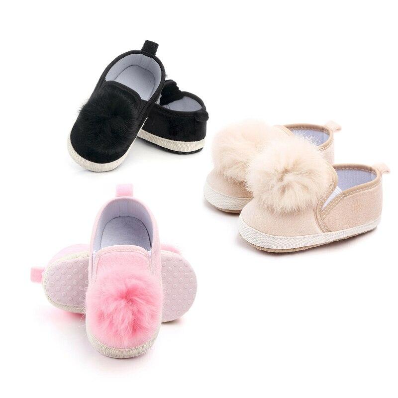 Toddler Girl Crib Shoes Newborn Baby Kids Soft Sole Prewalker Anti-slip Infant Plush Pram Sneakers Cute Lovely Gifts Fashion New