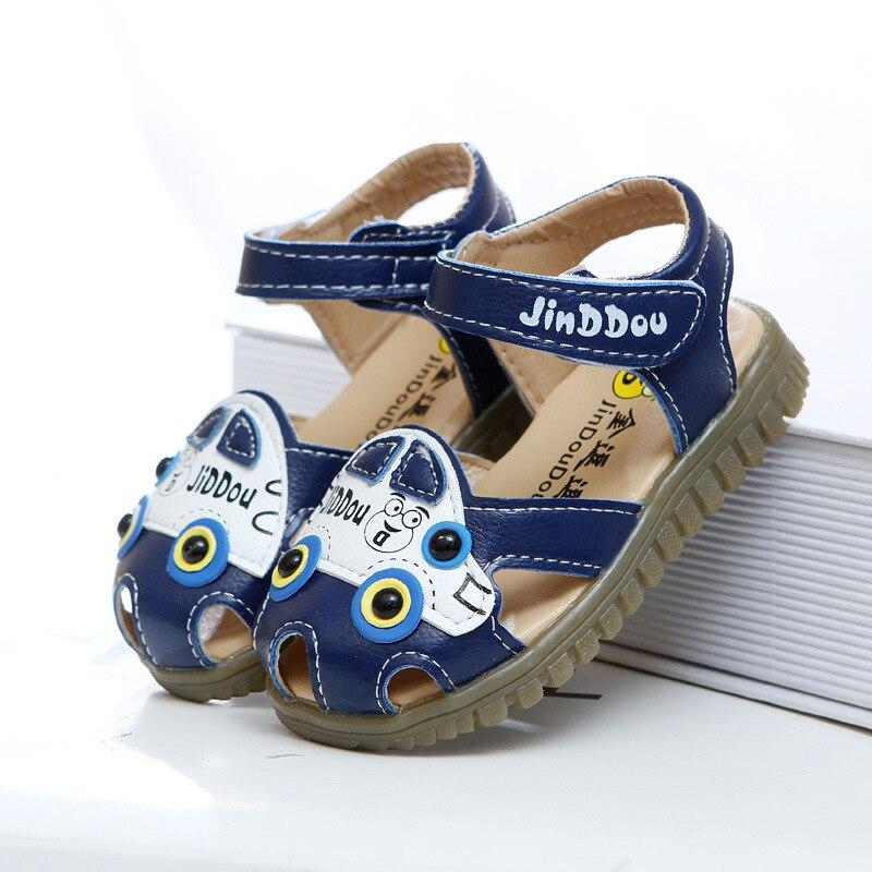 2018 leather boys child toe cap covering sandals child summer sandals  cowhide children baby toddler car shoes children shoes