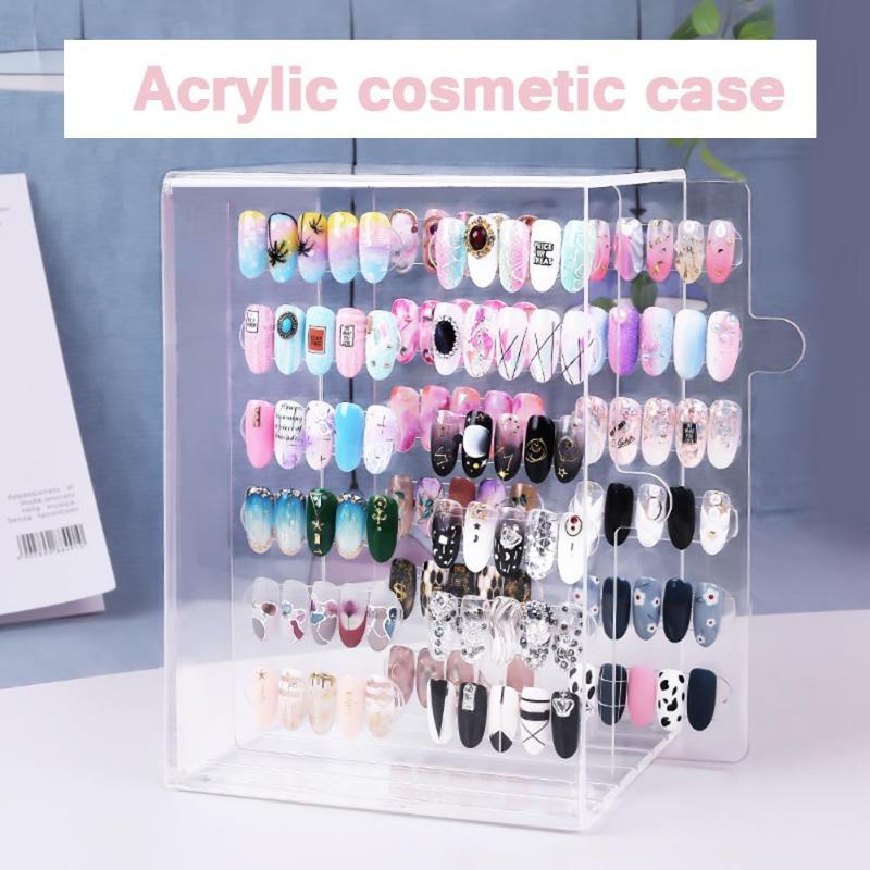Acrylique Nail Art Faux ongles Patch présentoir planches maquillage organisateur plastique vide boîte de rangement montrant étagère