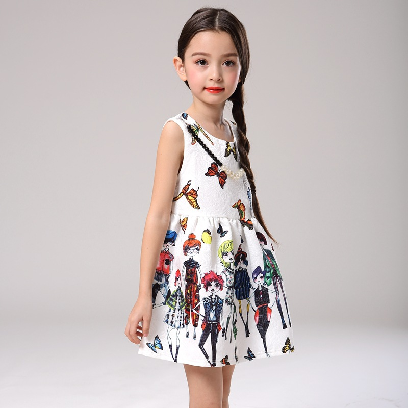 cd80abc00 2016 Fashion Girls Princess Dress Designer Character Painting Summer Casual  Kids Party Evening Dresses Clothes Children Clothing-in Dresses from Mother  ...