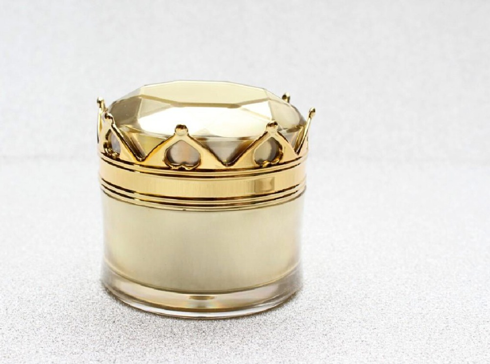 50G gold crown shape acrylic jar plastic jar cream jar for eye cream essence gel moisturizer