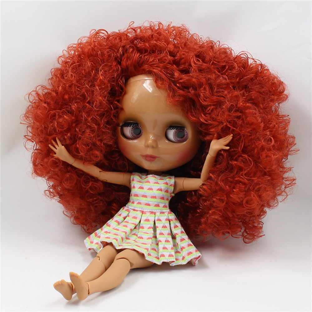 Neo Blythe Doll with Red Hair, Dark Skin, Shiny Face & Jointed Body 4