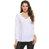LETEOO Summer 2017 Loose White Blouse Women Casual Long Sleeve Double V Neck Backless A Line