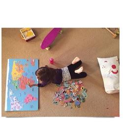 Juguete educativo del rompecabezas del mundo de Hello de la diversión magnética de 131 piezas para niños rompecabezas 3d Material Montessori juguete de madera para niños
