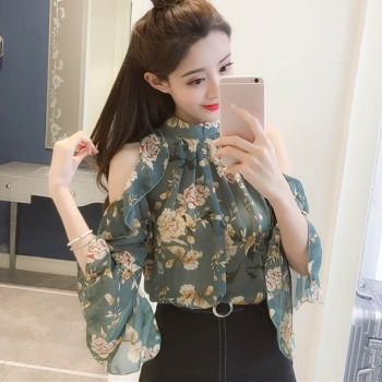 цена на Fashion Floral Print Chiffon Blouse Women Sexy Cold Shoulder Casual Tops Female Blouse