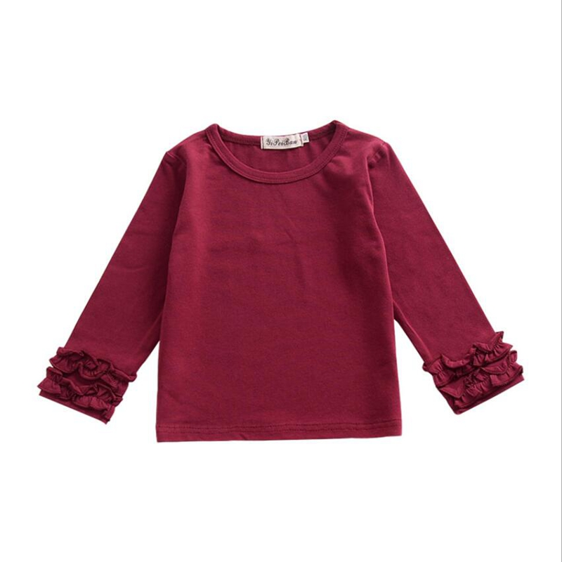 New Cotton Baby Girls Solid Ruffle Shirts Burgundy Olive Children Kids Long Sleeve Icing Raglan Clothes