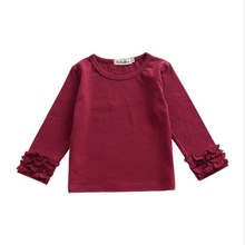 New Cotton Baby Girls Solid Ruffle Shirts Burgundy Olive Children Kids Long Sleeve Icing Raglan Clothes total station topcon gts 102n total station