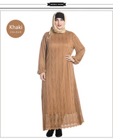 New Fashion Solid Colors Muslim Abaya Plus Size Long Sleeve Lace Maxi Dress Casual Soft Loose