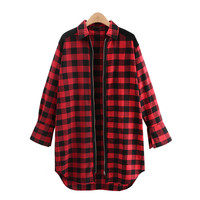 Autumn Women Shirt Plaid Fashion Hit Color Full Sleeve Loose Long Blouses Cardigan Zipper Close Plus