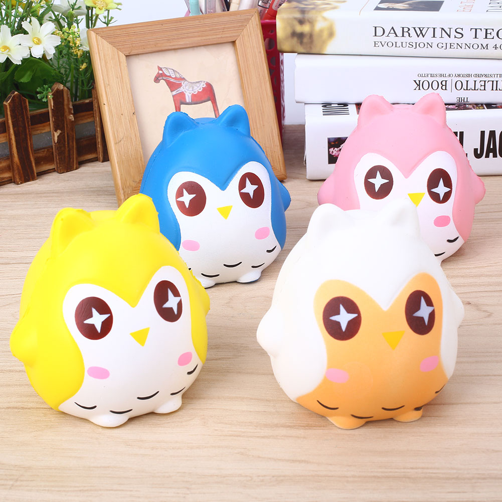 Cute Owl Squishy Owl Squishy Doll PU Owl Squeeze Toy Cute Soft White Yellow Home Decor Squeezing Toy Slow Rising Toys