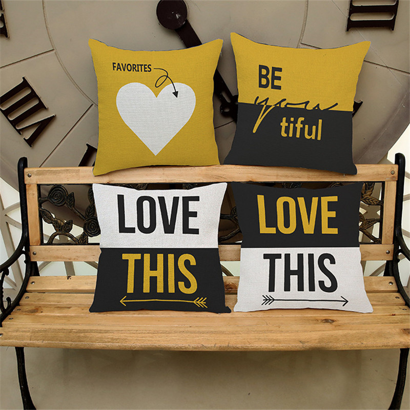 Fashion Love letter yellow black beige Sofa chair coffee shop chair Cushion Cover house home Decorations Pillow Cases for gift