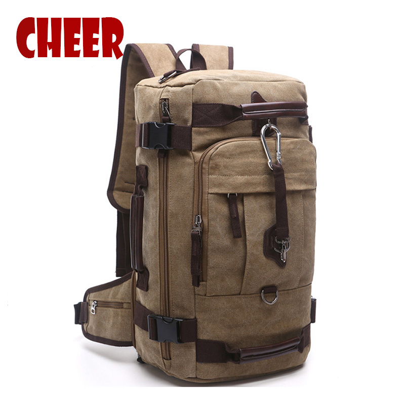 Men large capacity Travel bag Male backpack multi-functional canvas Casual travel Mountaineering backpack men and women backpack casual canvas women backpack simple cover large capacity travelling bag khaki blue rose red and green colors big and small